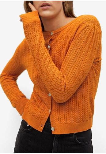 Mango orange Openwork Knit Cotton Cardigan 4A656AA1618001GS_1