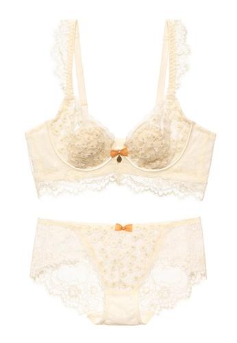 ZITIQUE beige French Sexy Embroidered Bra Set- Beige DF5FEUS652DE7FGS_1