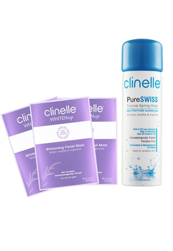 Clinelle Whitening: Clinelle [official] PureSwiss Spring Water (50ml) + WhitenUp Whitening Mask (3 sheets) CL708BE28SBZMY_1