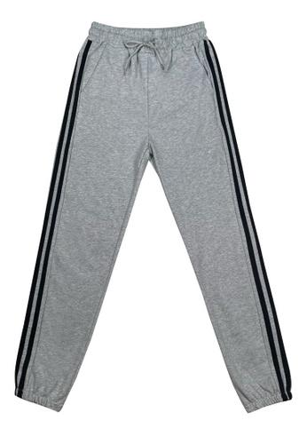 DRUM black Side Stripe Sweatpants- Grey BA117AA7DF46A6GS_1