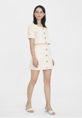 Pomelo beige Front Heart Shaped Button Skirt - Cream DEC98AA6573D3EGS_1