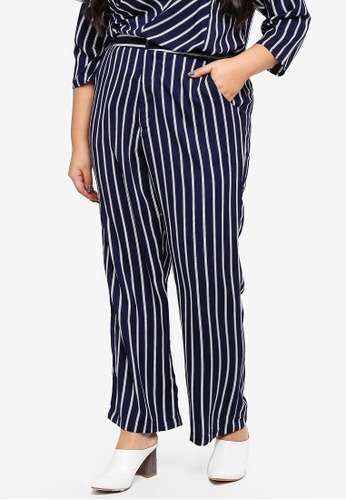 Ex'otico navy Plus Size Striped Trousers 09094AAF463704GS_1