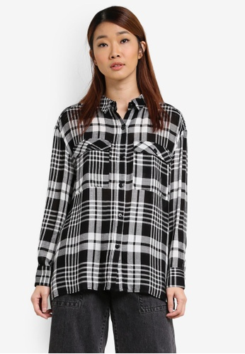 Something Borrowed black Checkered Oversized Shirt 65B23AA54AA815GS_1