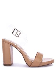 59ec01878082 Janylin brown One Band Chunky Heel Sandals 51BFBSHAECFFD6GS 1