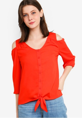 ZALORA orange Cold Shoulder Button Down Top D1B49AA55EC70EGS_1