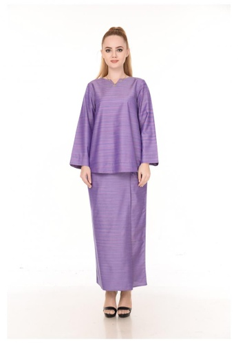 SET LAURA Kurung Kedah Purple Stripe from Qaseh Sofea in Purple