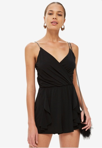 TOPSHOP black Crystal Strap Playsuit 68A9CAA7BC2916GS_1