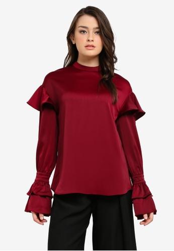 Zalia red High Neck Frill Sleeve Top 1E59BAAA83A849GS_1