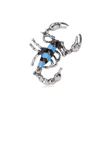 Glamorousky silver Simple Personality Blue Scorpion Brooch 05B7DAC721008CGS_1
