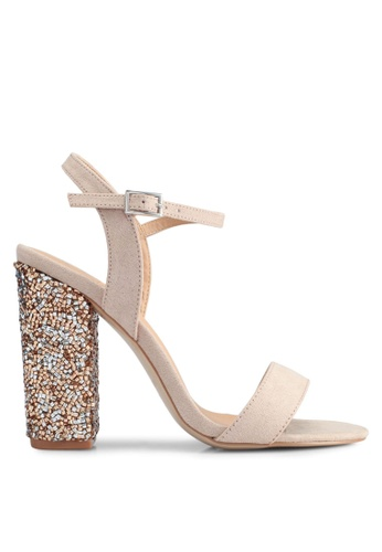 MISSGUIDED pink and beige Glitter Block Heel Sandals B576CSH6E6EFB3GS_1