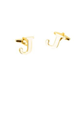 Glamorousky silver Simple Personality Plated Gold English Alphabet J Cufflinks 3BA76AC0767E1EGS_1