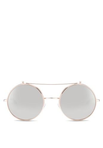 zalora時尚購物網評價JP0276 反光圓框太陽眼鏡, 飾品配件, 飾品配件