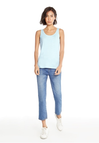Pomelo blue Sara Scoop Neck Tank - Baby Blue 6DD79AA5764C47GS_1