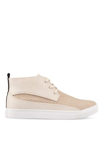 JAXON beige Mixed Materials Linen High Top Sneakers 879EASH461D52DGS_1