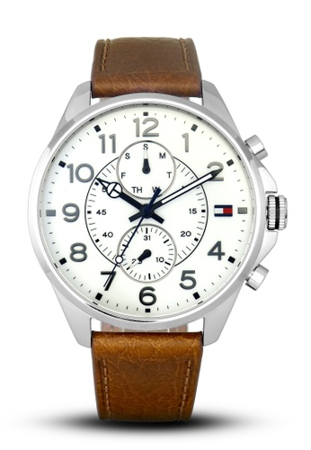 Tommy Hilfiger Watches white and brown and silver Men's Chronograph Watch TO959AC16QITPH_1