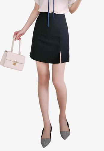 Eyescream black Slit Hem Skirt 1D672AA3D36C34GS_1