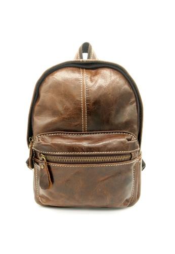 LUXORA brown The Ninja Co. Top Grain Leather Backpack Back Shoulder Sling Bag Handbag Travel Accessory Gift 1234FAC3A1F688GS_1