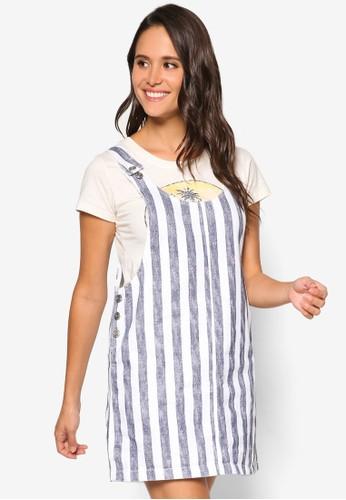 褪色條紋吊帶連身裙, 服飾,zalora 台灣門市 洋裝
