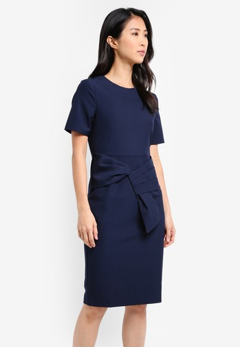 ZALORA navy Dress with Faux Wrap Detail 882C0AA07CAF65GS_1