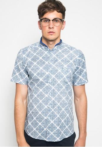 YEGE blue YEGE Short Sleeve Henley Print Shirt 7070 9ED08AA0EAAF98GS_1