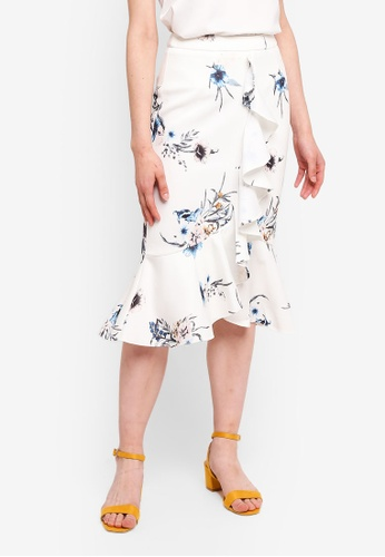 MDSCollections multi Poppy Ruffled Skirt In White Floral D69A7AAFBD5E69GS_1