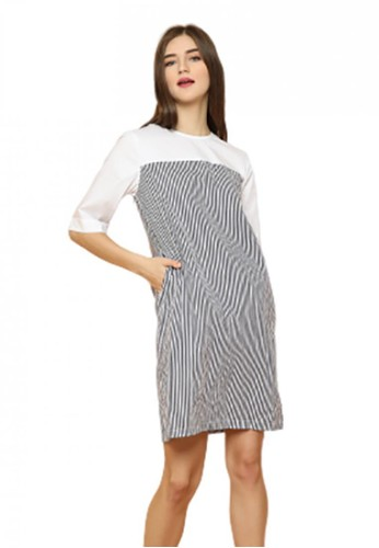 Gina Alana black and white Gina Alana Lisa Dual Tone Dress A5AEAAACA02373GS_1