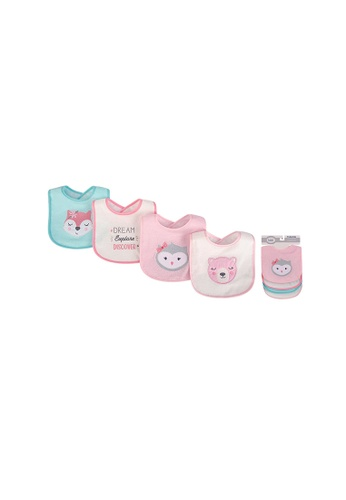 Little Kooma white and pink Baby Girl Knit Terry With Peva Bib 4pc Girl Woodland 01785 9A333KC01BB19EGS_1