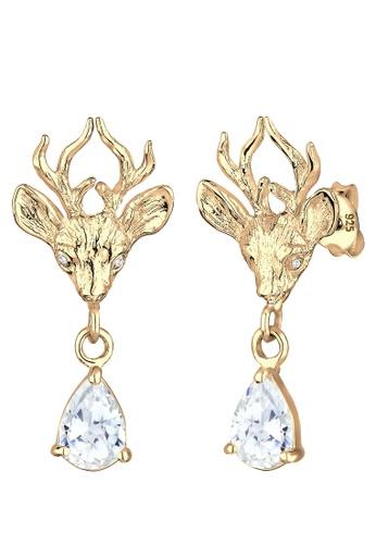 Elli Germany white Elli Germany Earring Deer 925 Sterling Silver Goldplated EL474AC0SEV1MY_1