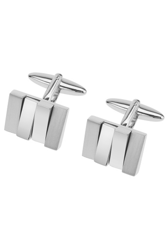 CUFF IT silver Irregular Metal Bricks Cufflinks CU047AC85YDQHK_1