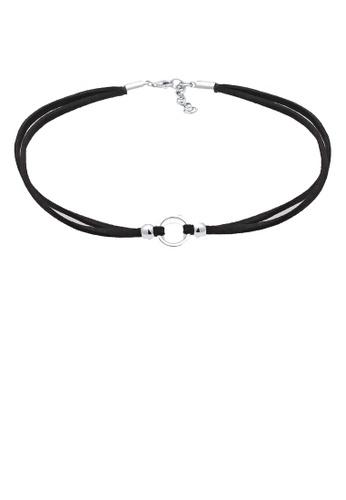 Elli Germany black Elli Germany Trend Choker Circle Black Ribbon 925 silver EL474AC0S1Z6MY_1