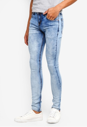 Penshoppe blue Skinny Fit Washed Jeans E1B8FAADE029F2GS_1