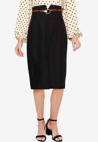 ZALORA WORK black Notch Detail Skirt 8B10FAA5354B09GS_1