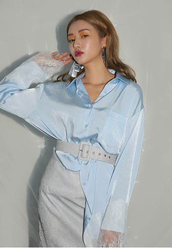 韓系時尚蕾絲邊esprit outlet 高雄飾寬版長袖襯衫, 服飾, 上衣