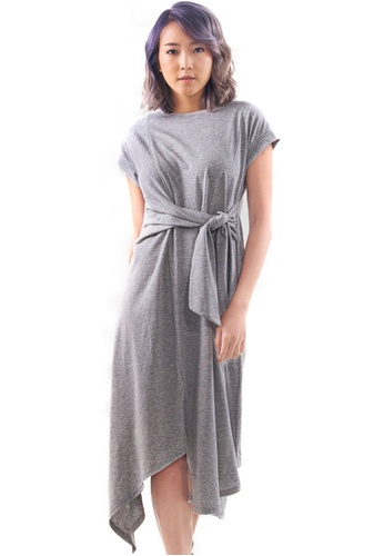 Kitschen grey Side-Tie Knot Dress 106B1AAE68EF79GS_1