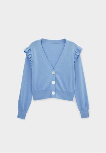 Pomelo blue Sustainable Cotton Ruffled Sleeve Cardigan - Blue FA2E8AACBA2F82GS_1