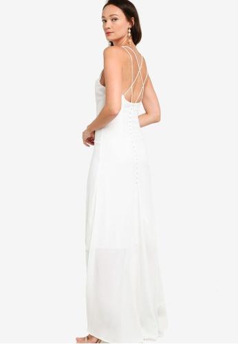 ZALORA OCCASION white Low Back Button Detail Dress BCE26AA3496803GS_1