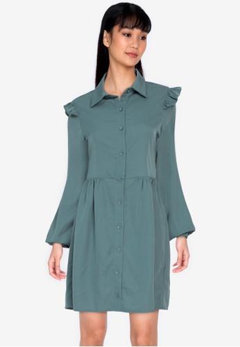 ZALORA BASICS blue Frill Detail Shirt Dress 14B76AA5401018GS_1