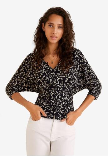 Mango black Floral Print Blouse 51D4DAADD2E47AGS_1