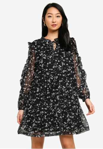 Noisy May black Mesh Mare Loose Dress 41F1DAABA72A4CGS_1