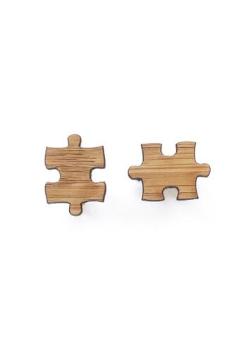 Splice Cufflinks brown Handmade Puzzle Piece Cufflinks SP744AC93CUKSG_1