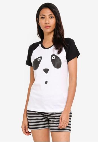 UniqTee white Beary Sleepy Pajamas Set 29587AA93319BAGS_1