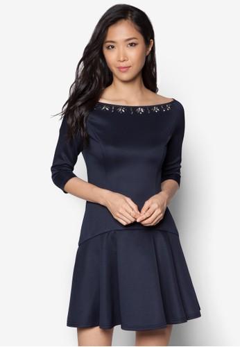 閃飾褶藝七分zalora開箱袖洋裝, 服飾, 晚宴禮服