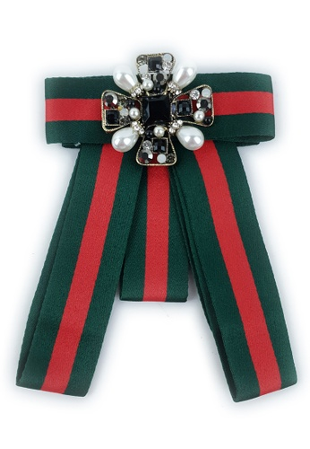 BELLE LIZ red and green Red Green Gorgeous Ladies Bow Brooch BADD3AC5787814GS_1