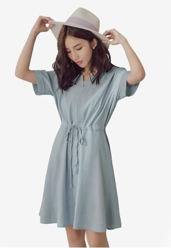 Yoco blue Short Sleeve Tie Front Dress 228EBAACE38012GS_1