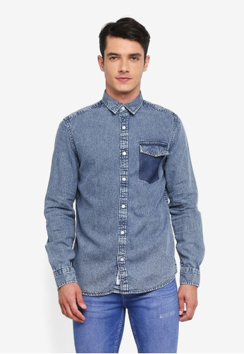 Only & Sons blue Neville Denim Shirt 2F3AFAAB378207GS_1