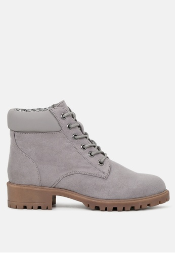 London Rag grey Ankle Length Lace up Boots 15DFFSHA2E3019GS_1