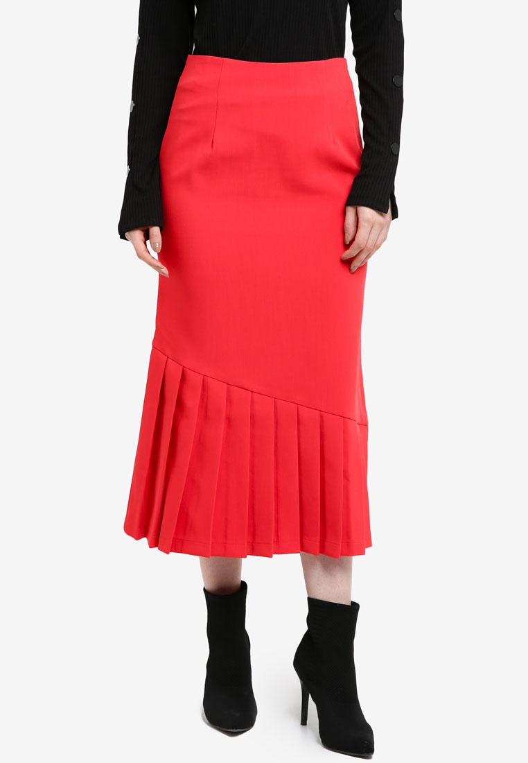 Pencil INK Skirt Pleat Red Detail LOST TH4w1BqWH