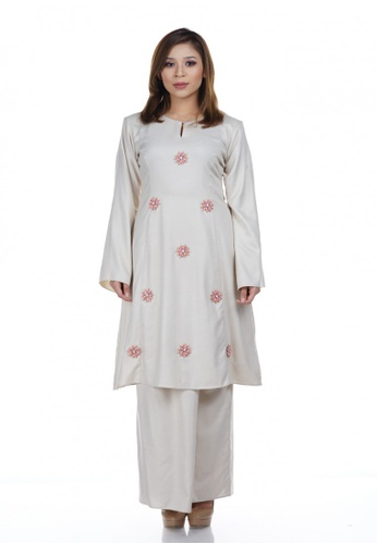 Tihany Kurung from NOVEMBERMATE in Yellow and Gold and Brown and Beige