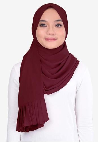 UMMA 紅色 褶飾雪紡絲巾 C4C3FAA9DA5B1EGS_1