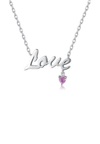 MBLife silver 925 Sterling Silver Be Loved Pink Sapphire 'Love' Necklace A15F0AC115E2A5GS_1